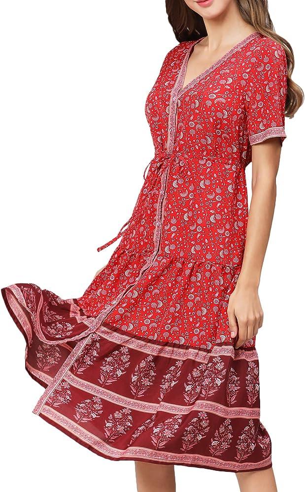 Kuty Vestido Boho, Vestidos Mujer, Floral Vestido, Vestido de Playa, Suelto Retro V-culleo Vestido, Vestidos Largos, Floral Manga Larga Mujer, Cuello en V, Cintura Elástica, Vestido Hippie(2XL): Amazon.es: Ropa y accesorios