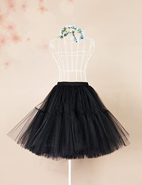 Tulle Skirt, Womens Midi Tulle Tutu Skirt Fluffy Princess Five Layers A line Party Prom Underskirt at Amazon Womens Clothing store: