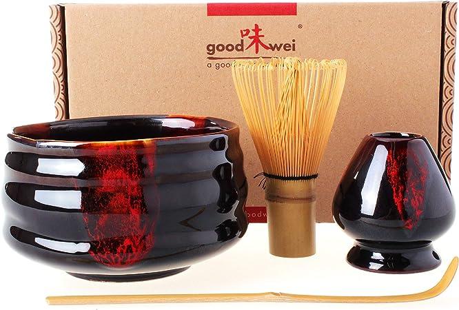 Goodwei set completo per matcha giapponese con ciotola di alta qualit/à 80 Akai.