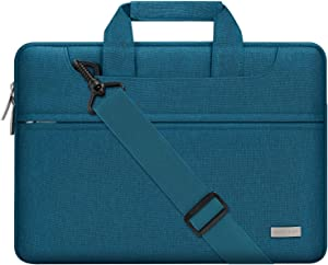 MOSISO Laptop Shoulder Bag Compatible with 13-13.3 inch MacBook Pro, MacBook Air, Notebook Computer, Polyester Sleeve with Back Trolley Belt, Deep Teal