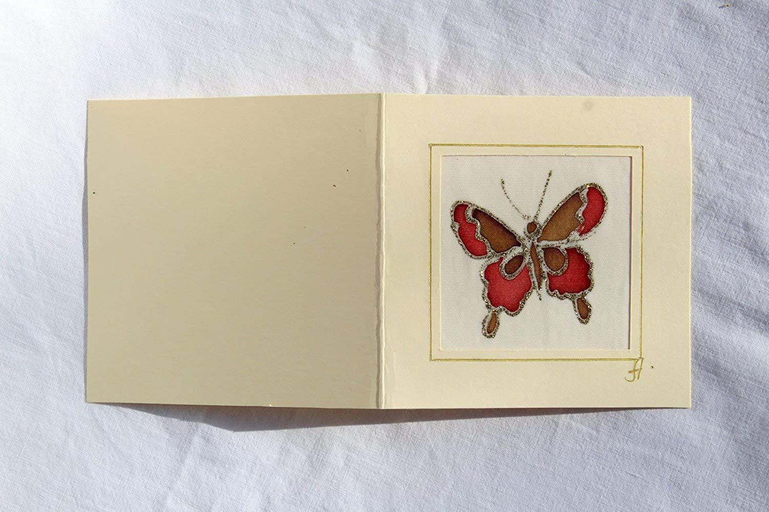 Hand Drawn Butterfly card,Red Butterfly,Acrylic Gift Butterfly,Original Batik Greeting Card,Hand Painted Butterfly Silk Card,Champagne color Butterfly Card,Unique Handmade