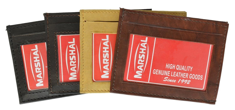 100/% Genuine Leather ID Holder Black #270CF