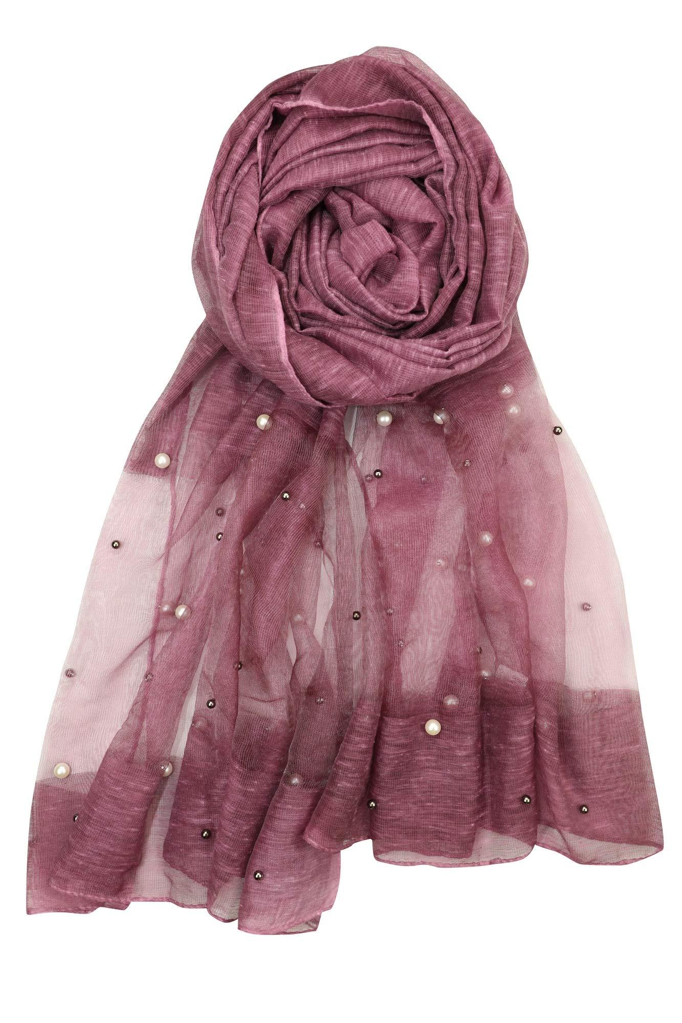 Achillea Women's Elegant Pearl Beaded Embellished Sheer Scarf Shawl Wrap (Plum)