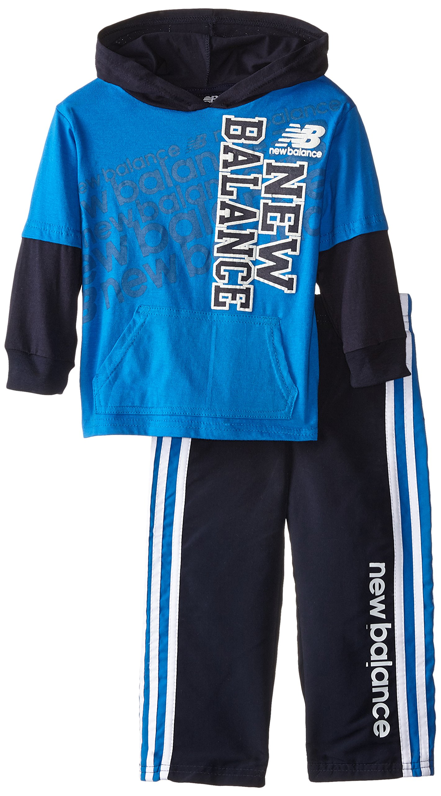 New Balance Little Boys' 2 Piece Drop Down Hoodie and Pant Set, Navy, 2T by New Balance
