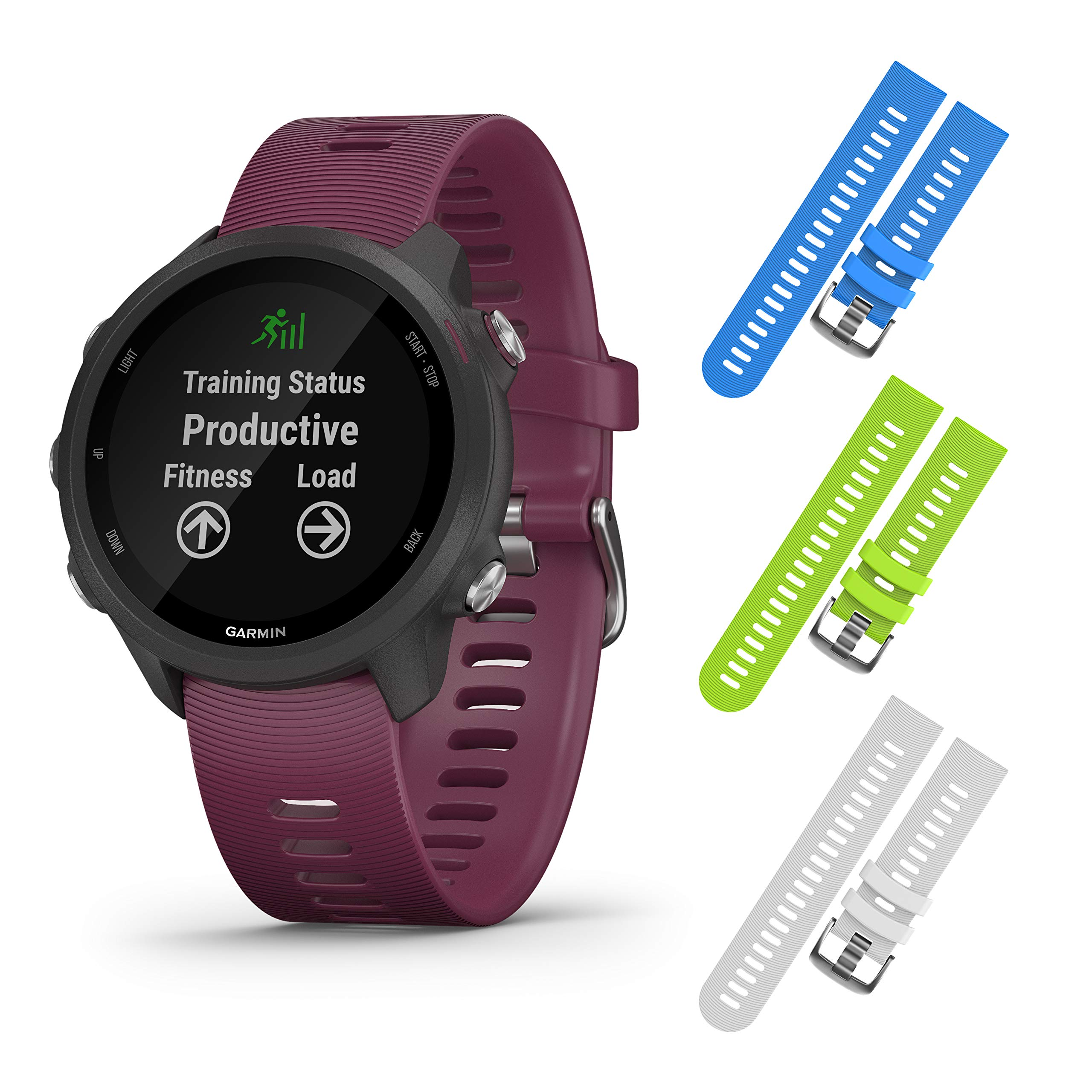 Garmin Forerunner 245 GPS Running Smartwatch with Included Wearable4U 3 Straps Bundle (Berry 010-02120-01, Blue/Lime/White)