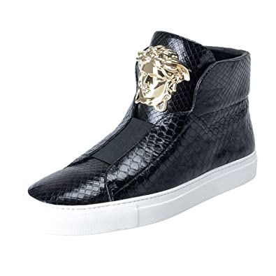9834f363 Amazon.com: Versace Men's Black Leather Medusa Sneakers Shoes US 8 ...