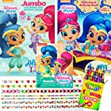 Shimmer and Shine Coloring Books and Puzzle Set - Includes 2 Coloring Books with over 30 Stickers, 1 Puzzle (48 pieces) , 24 Crayola Crayons and Jewelry Stone Sticker (1 Sheet)