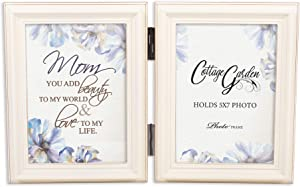 Cottage Garden You Add Beauty Ivory Pearl 5 x 7 Wood Hinged Double Tabletop Photo Frame