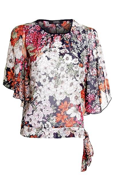 Damas Gasa Estampado Floral Rosa Pétalo Blusa Sin Mangas Con Lazo Dar Cuerda Mujer Chaqueta Floreado