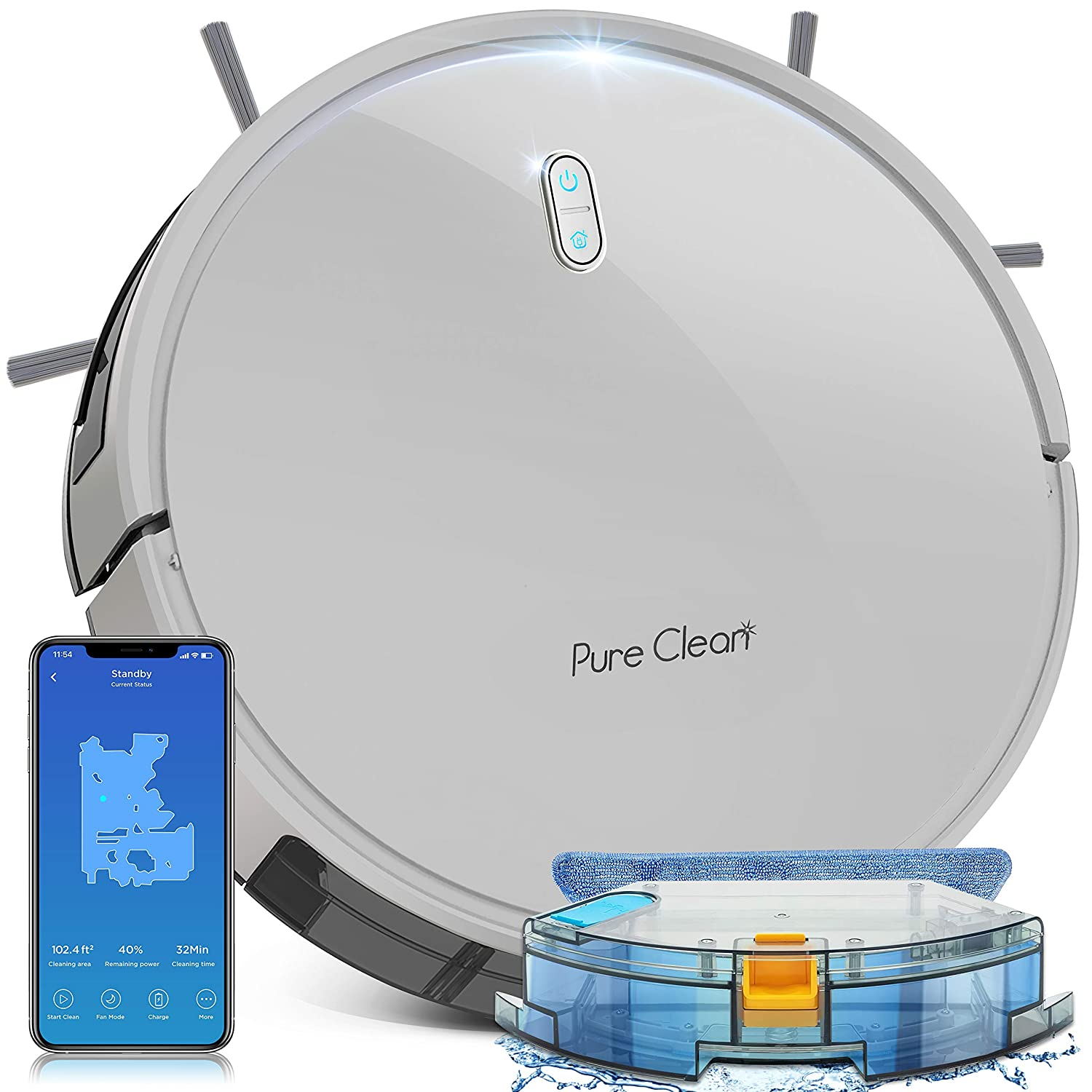 Smart WiFi Robot Vacuum Cleaner - 2700Pa Strong Suction - Self Charging Robo Vacuum Cleaner - Mobile App Alexa & Gyroscope Navigation Mapping, 2600mAh 120 Min Run Time - SereneLife PUCRC675 , White