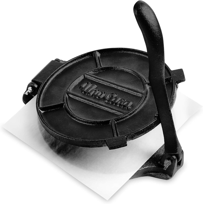 Uno Casa Tortillero mexicano de 20 cm presazonado – Prensa de hierro resistente para tortillas mexicanas – Máquina de tacos mini, quesadillas, roti, pancakes y rollitos – Con 100 uds de papel de horno