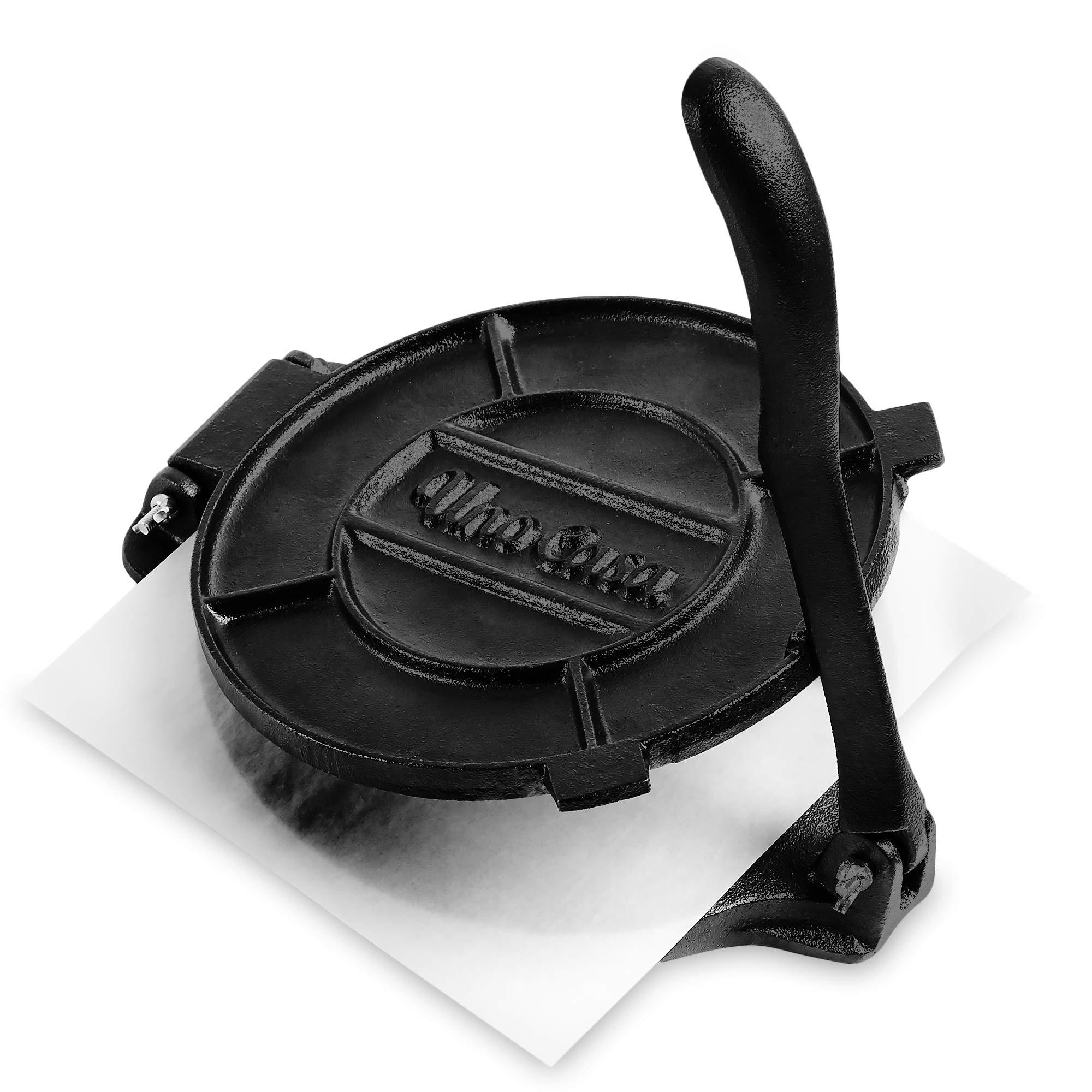 Uno Casa Cast Iron Tortilla Press - 8 Inch, Pre-Seasoned Tortilla Maker with 100 Pcs Parchment Paper by Uno Casa