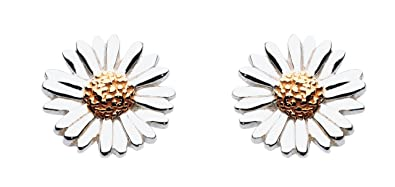 45d71d39e Dew Sterling Silver and Gold Daisy Stud Earrings: Amazon.co.uk: Jewellery