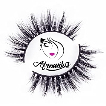 c485c1b9beb Amazon.com : 3D Mink False Eyelashes by Afromika Lightweight Natural Look  Reusable Handmade For Makeup Sturdy Flexible Band 1 Pair Pack in Style Milan  : ...