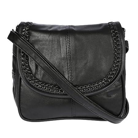 Kleine Lambskin Damen Leder Tasche Handtasche Überschlag Umhängetasche Schultertasche Clutch Damentasche Ledertaschen (Schwar