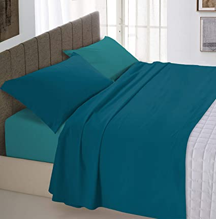 Italian Bed Linen Natural Color Completo Letto Double Face 100