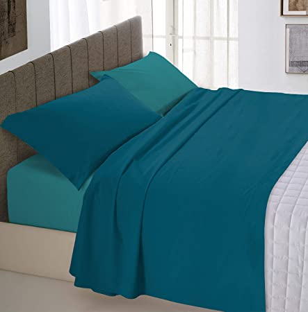 Italian Bed Linen Datex Bed Sheets Set U2013 Rblue Green/Bottle Green U2013 Double
