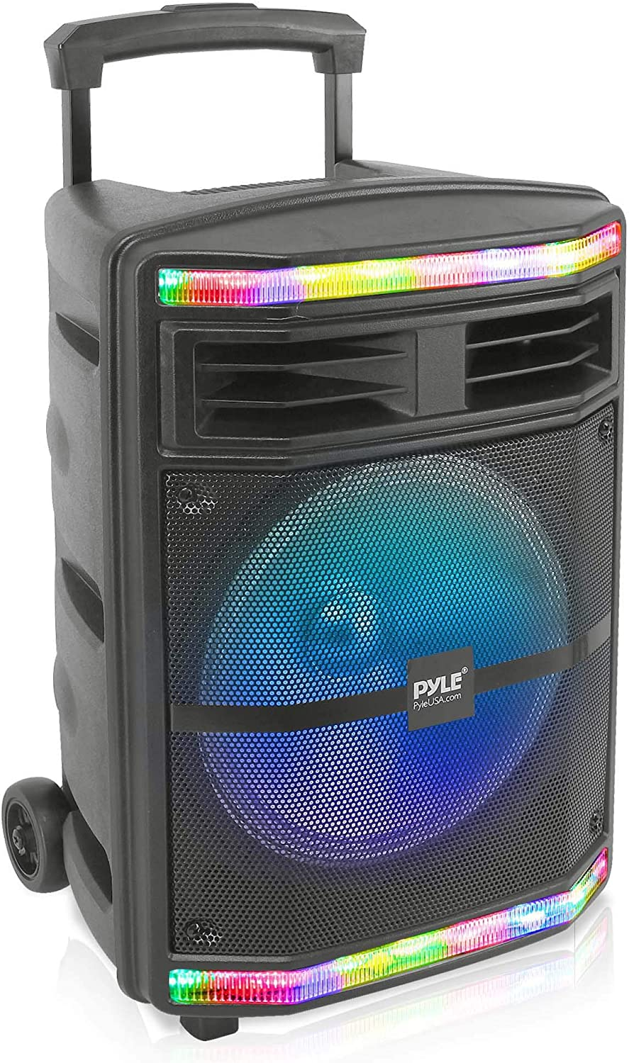 "Pyle Portable Bluetooth PA Speaker System - 600W Bluetooth Speaker Portable PA System W/Rechargeable Battery 1/4"" Microphone in, Party Lights, MP3/USB SD Card Reader, Rolling Wheels PPHP1044B"