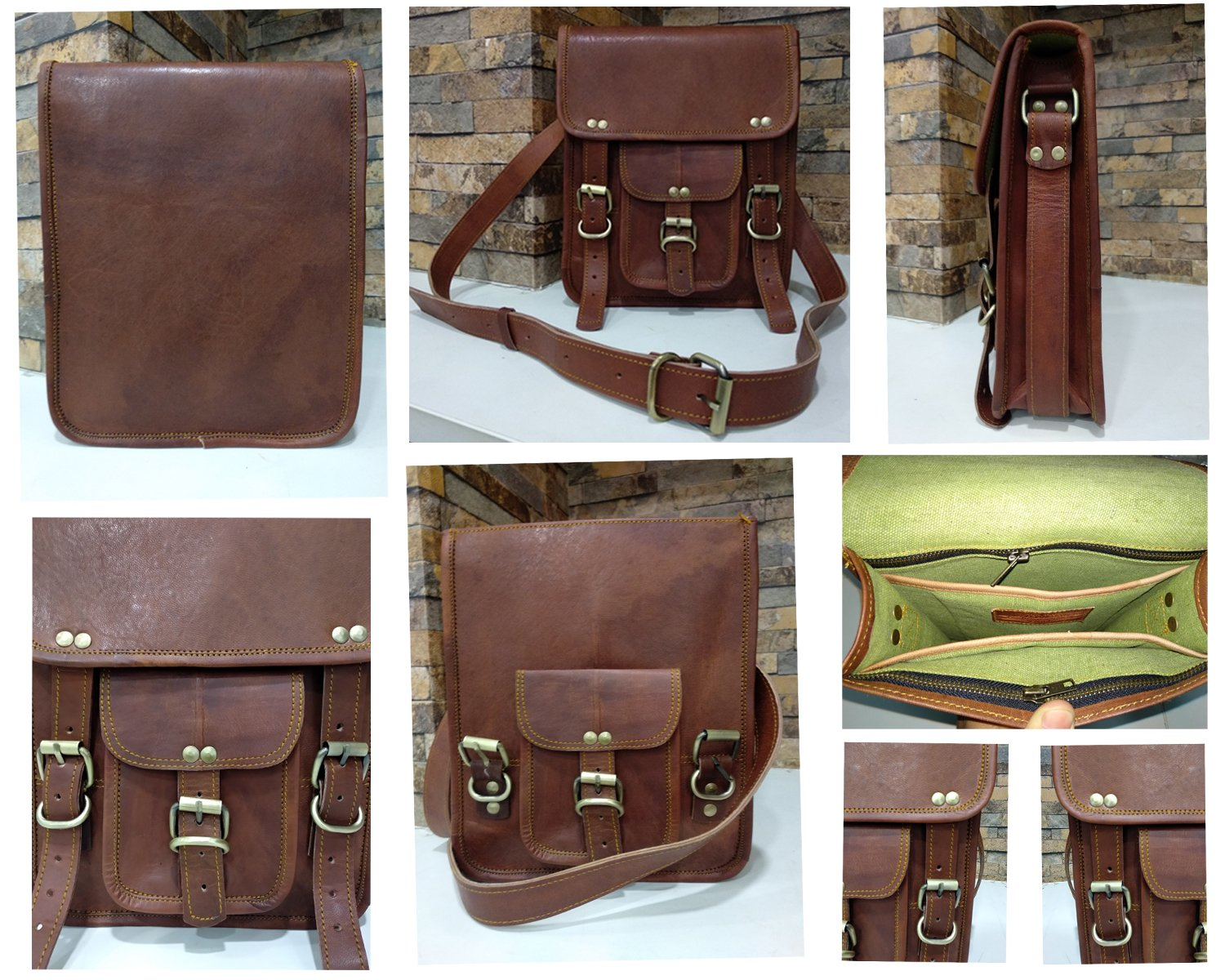 Mother's Day Gift Prime Leather Shoulder Bag Leather Messenger Bag Leather Ipad Bag satchel bag 9x11 by Fair Deal (Image #2)