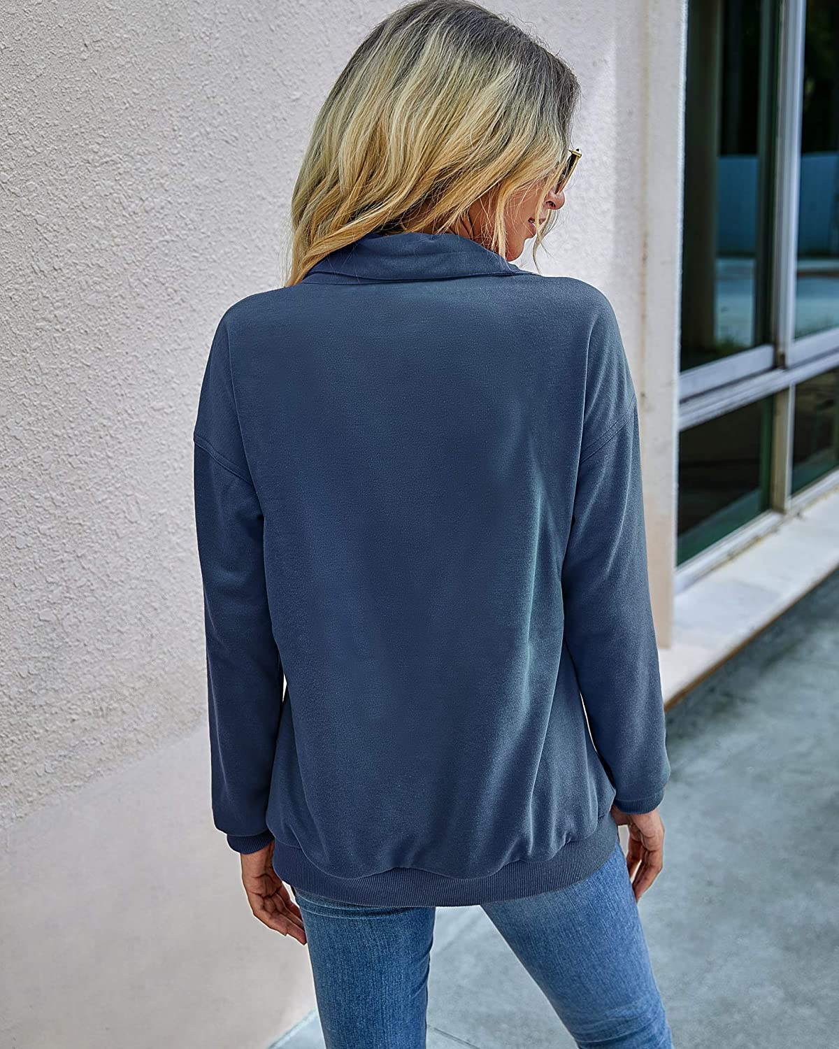 Famulily Womens Casual Zip Up Sweatshirt Plain Long Sleeve Tops and Pockets