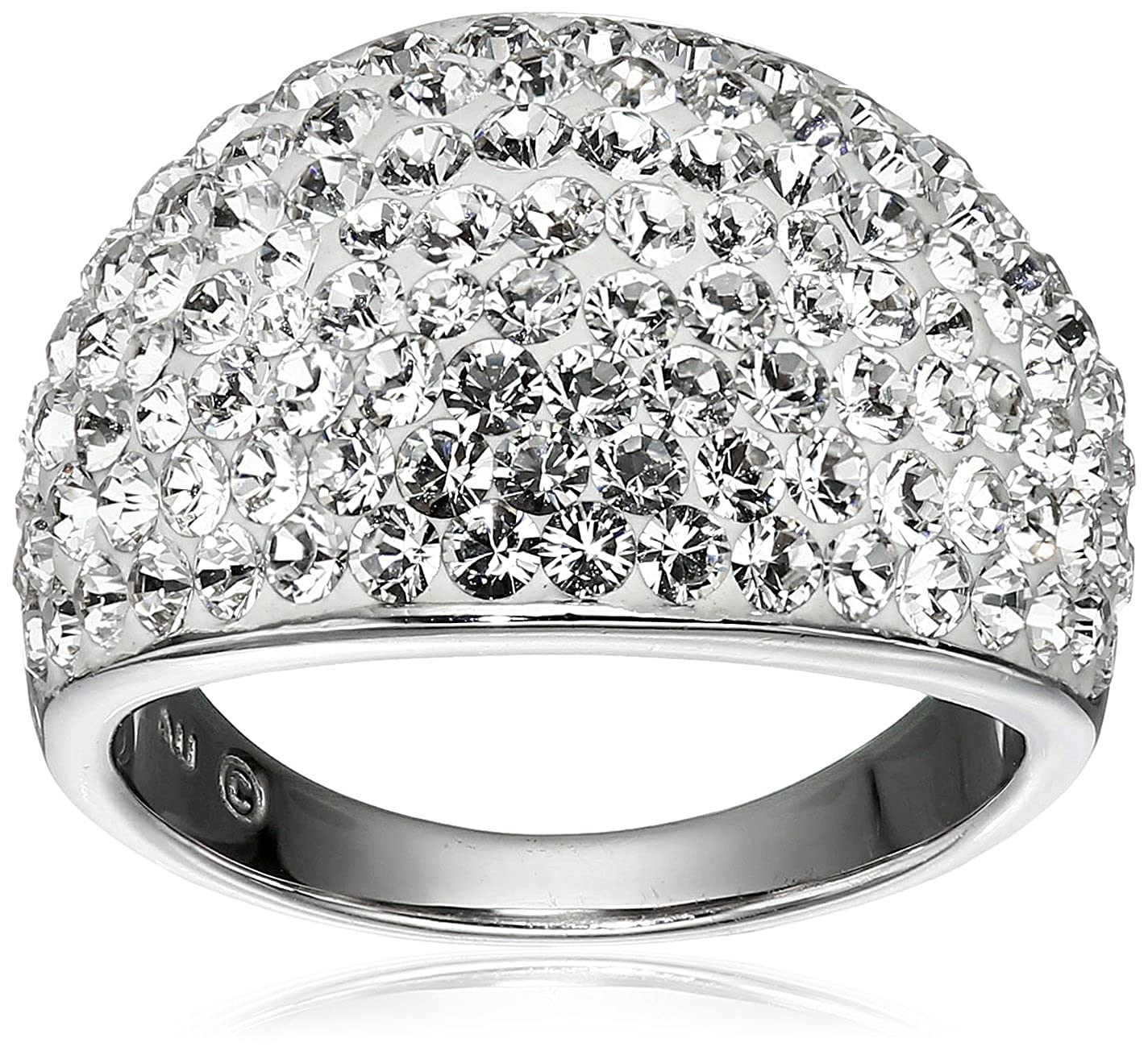 Sterling Silver Ring with Swarovski Elements, Size 7 Amazon Collection SF1292CWIQ7A