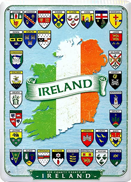 32 County Map Of Ireland.Carrolls Irish Gifts Metal Sign With Ireland Map With Tri Colour