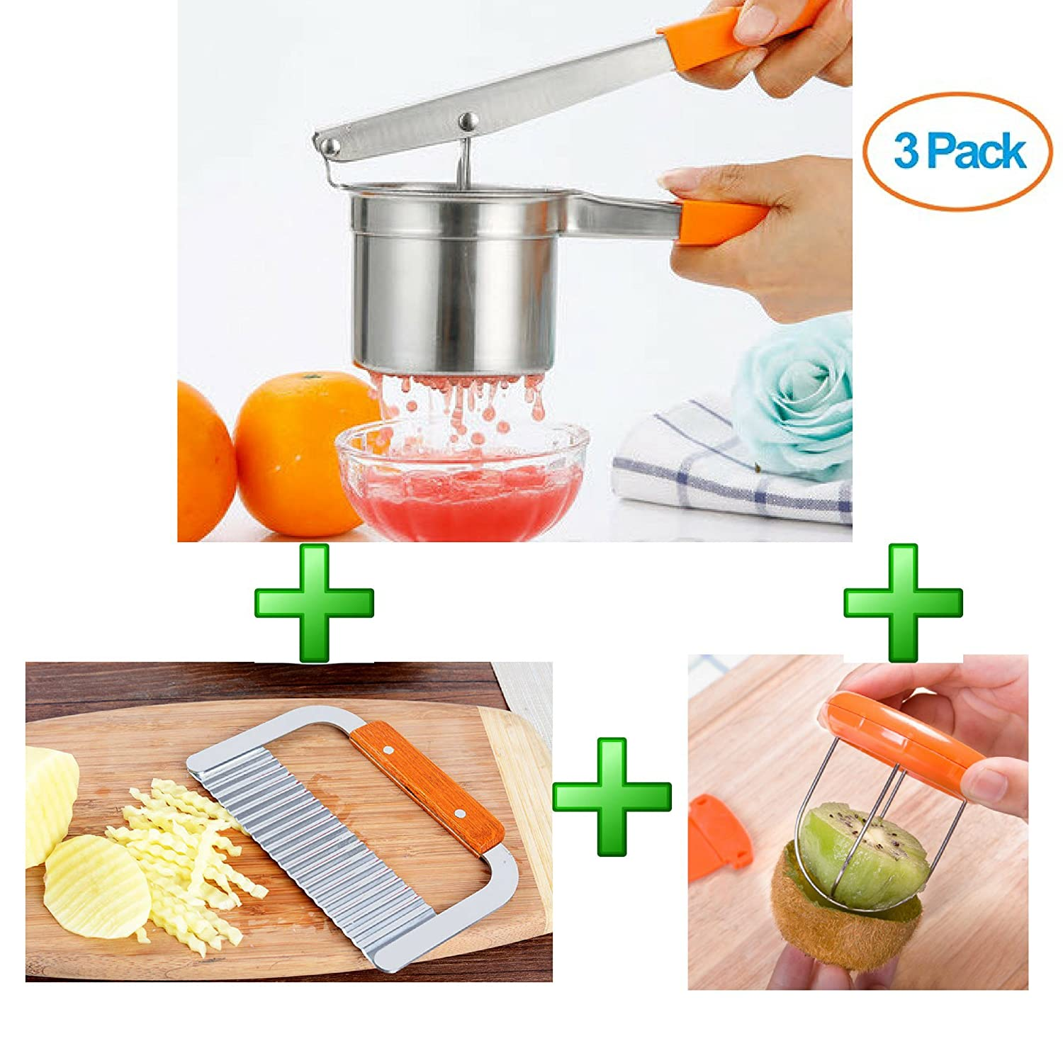 Potato Masher Ricer, Wavy Crinkle Cutter, Peeler and Grater Set - Make French Fries, Mashed Baby Food, Fruit and Veggie Juices Easily (Potato Ricer, Wavy Crinkle Cutter and Free Kiwi cutter) Reliabest COMINHKPR136542