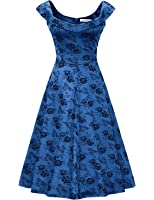 MUXXN Women's 1950s Scoop Neck Off Shoulder Cocktail Dress