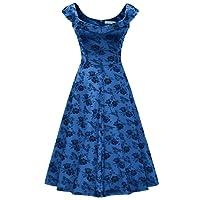 MUXXN Women's 1950s Scoop Neck Off Shoulder Cocktail Dress