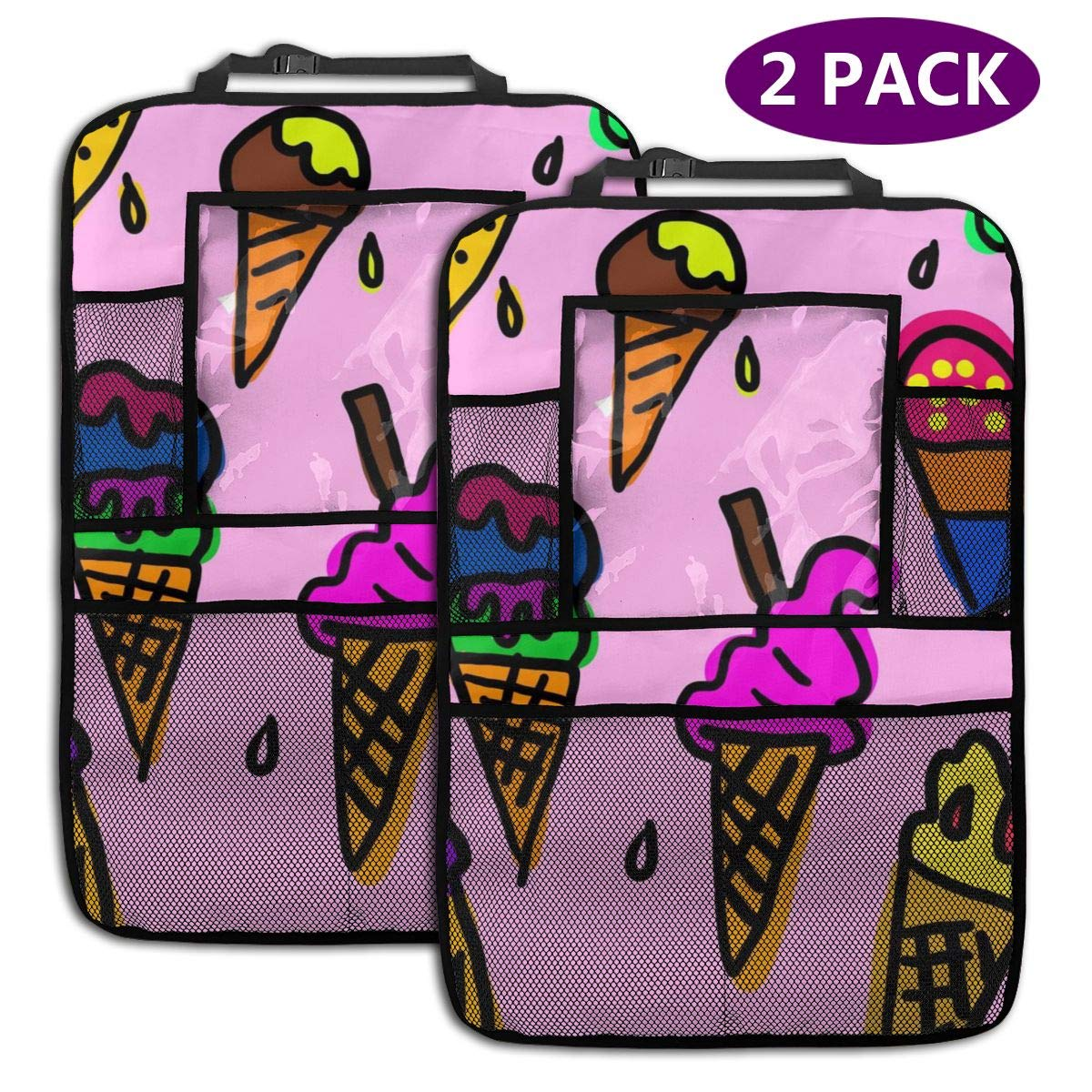 QF6FEICHAN Color Ice Cream Car Seat Back Protectors with Storage Pockets Kick Mats Accessories for Kids and Toddlers by QF6FEICHAN