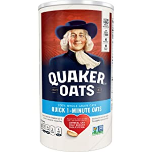 Quaker Quick 1-Minute Oats, 18 Ounce Canister