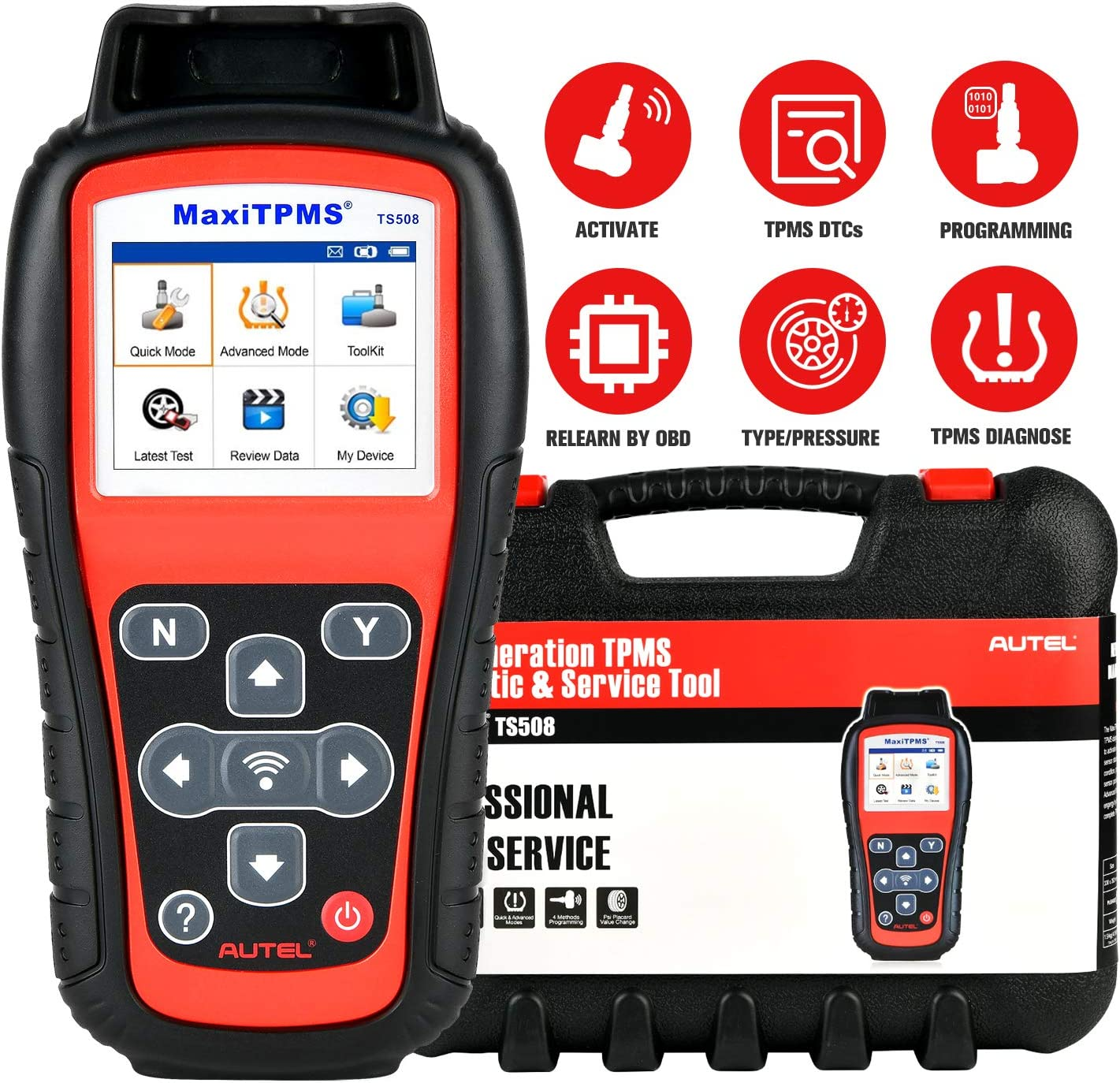 Autel TS508 TPMS Relearn Tool MaxiTPMS for TPMS Programming, TPMS Reset, Tire Type/Pressure Selection, Relearn by OBD, Read Clear TPMS DTCs, Sensor Activation, Key Fob Testing, Update Version of TS408