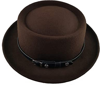 YChoice A Superb hat Mens Fedora Wide Brim Classic Winter Black Male Pork Pie Hat Felt Hat for Perfect Winter