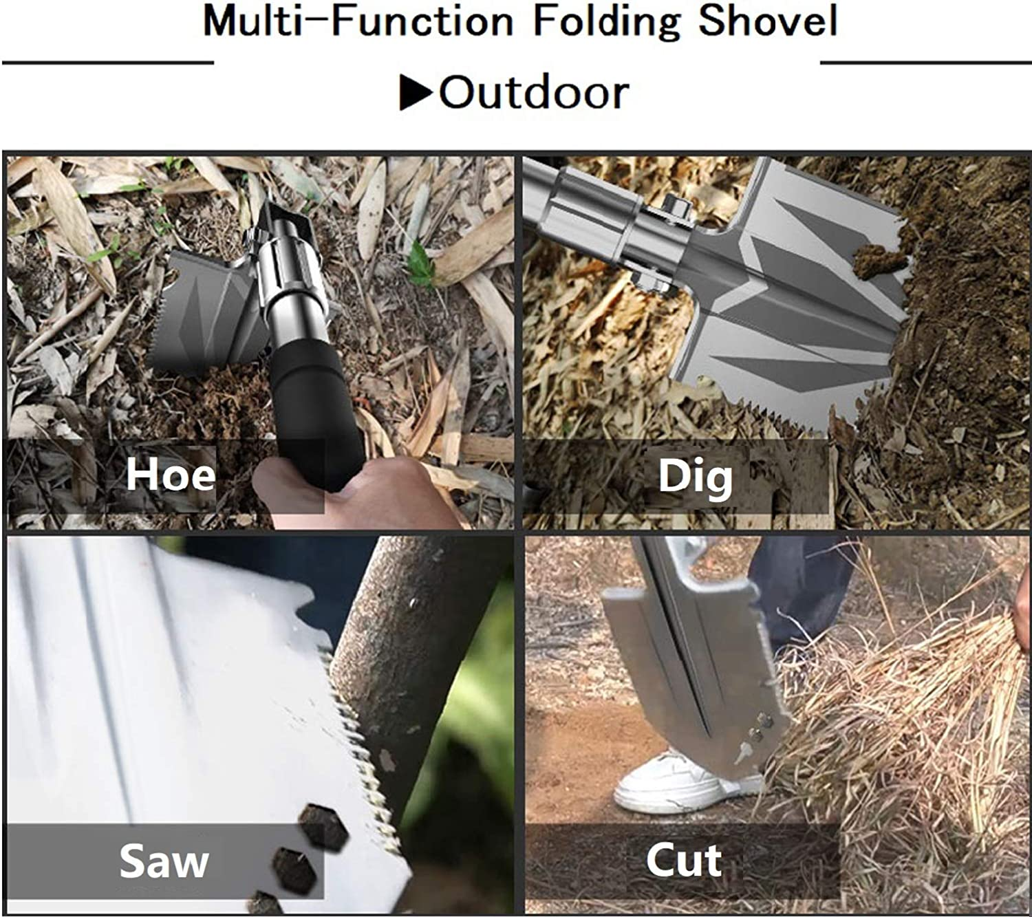 Gardening Snow Backpacking Outdoor Survival Portable with Cover for Hiking Folding Shovel Tool for Car Emergency Beach,Fishing SUPER-ELE Camping Shovel B