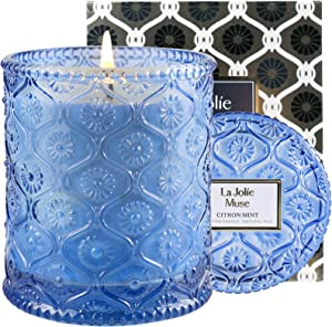 LA JOLIE MUSE Citron Mint Scented Candle, Natural Wax Candle for Home, 55 Hours Long Burning, Home Decor and Fragrance, Glass Jar, 8.1 OZ