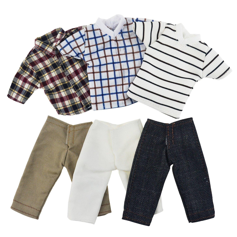 ASIV- 4 set Mini Moda Fatto a Mano Abbigliamento Casual Costume Manica Corta Pantaloni a Scacchi per Fidanzato di Barbie Bambole di Ken (Stili Casuali) A01441