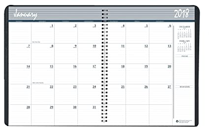house of doolittle 2018 calendar planner monthly black cover 85 x 11 inches