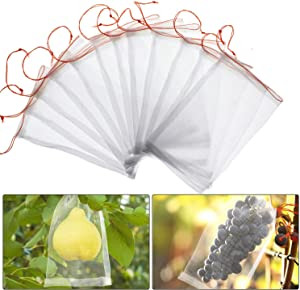 60 Pieces Fruit Protection Bags Reusable Garden Nylon Mesh Fruit Bag Insect Bird Net Barrier Bag for Garden Plant Flower Fruit Protection (6 x 10 Inch)