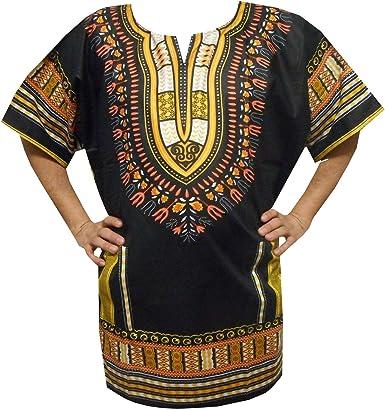 Dashiki Mens Shirt African Hippie Vintage Boho Tribal Womens Blouse Top One Size