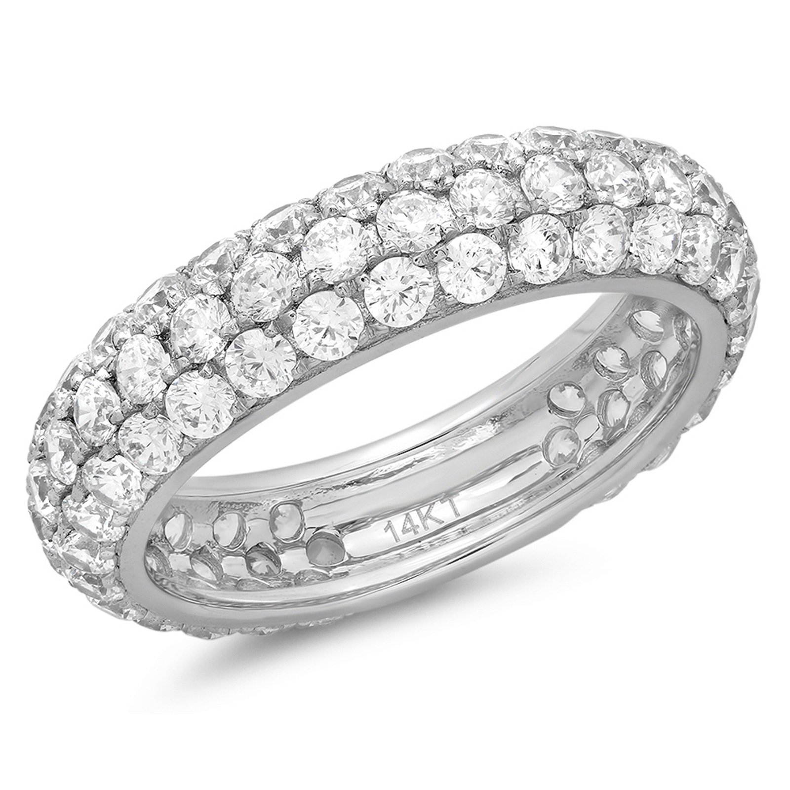 2.75 Ct Round Cut Pave Bridal Set Wedding Engagement Anniversary Band Ring 14Kt White Gold, Size 7.75, Clara Pucci