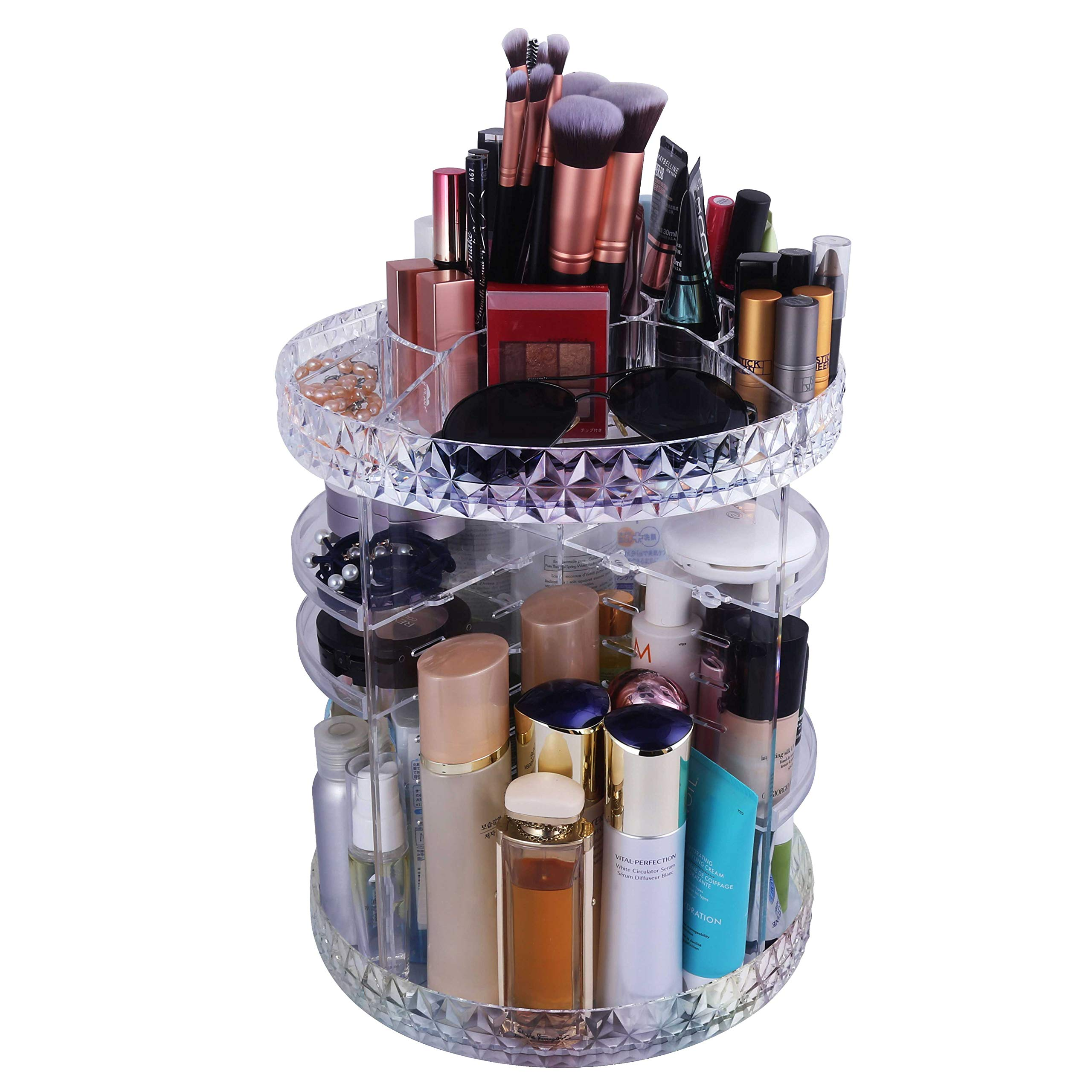 WEBI Gorgeous Acrylic Makeup Organizer: Thicken, 360̊ Rotating, Large Capacity, DYI Adjustable, Cosmetic Display Cases, Bathroom Storage & Organization, Vanity Countertop Holder (Diamond/Clear)