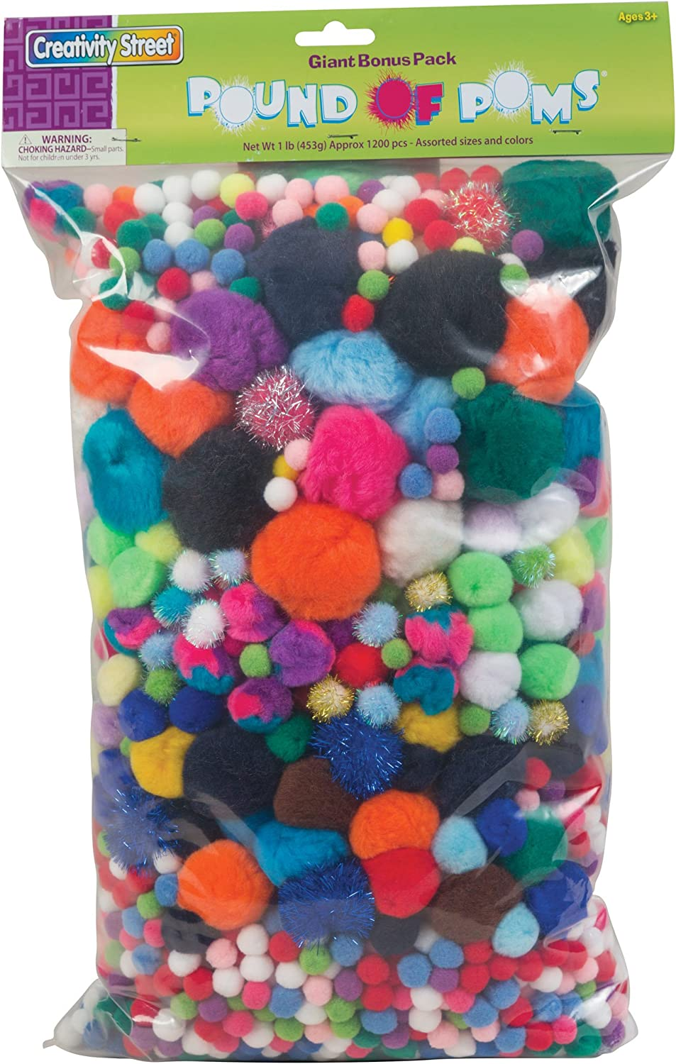 B0000C0XP2 Creativity Street Acrylic Non-Toxic Pom Pon Classroom Pack, Assorted Size, Assorted Color, Pack of 1200 81fpGt2bg-L