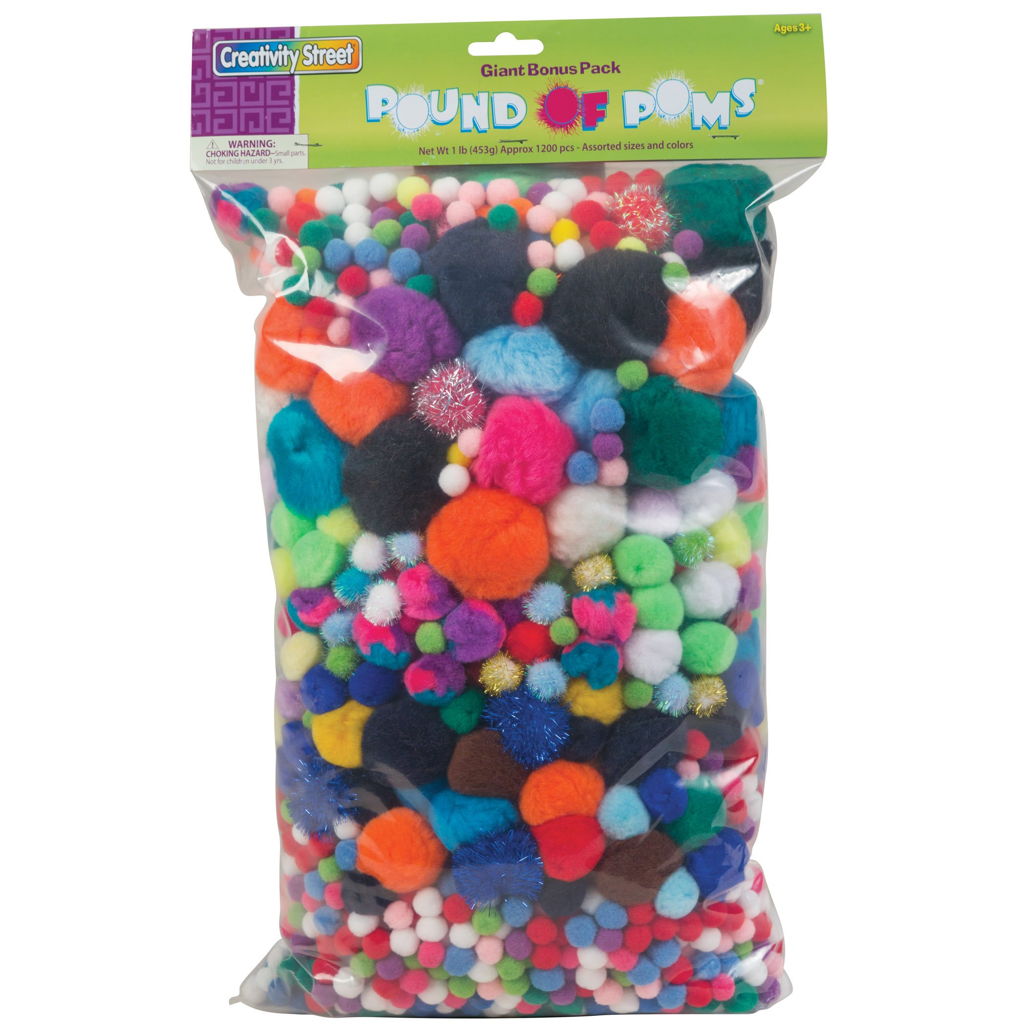 Creativity Street Acrylic Non-Toxic Pom Pon Classroom Pack, Assorted Size, Assorted Color, Pack of 1200