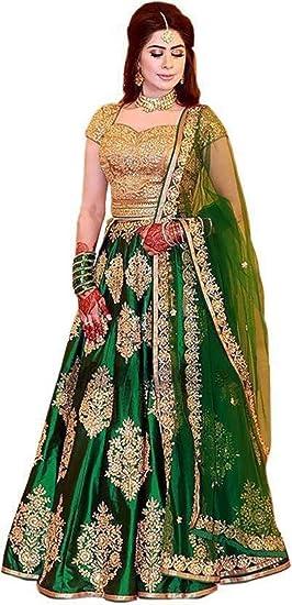 d304a737a5 VB Fashion Women's Taffeta Silk Embroidered Lehenga Choli (Green ...