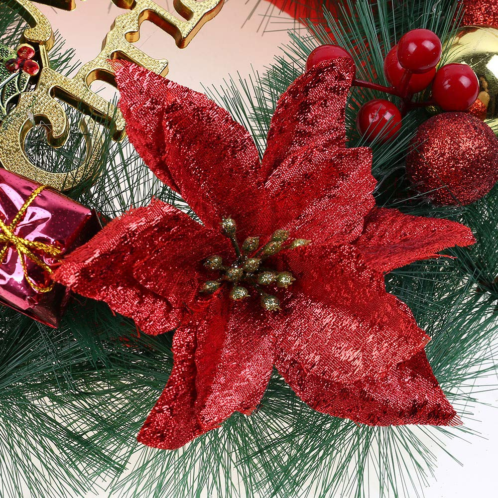 Promisen Christmas Wreath,30CM Merry Christmas Decorated Pine Wreath with Color Balls,Red Berry,Artificial Garland Holiday Wreath for Christmas Party Decor, Front Door Wreath (Multicolor) by Promisen (Image #4)