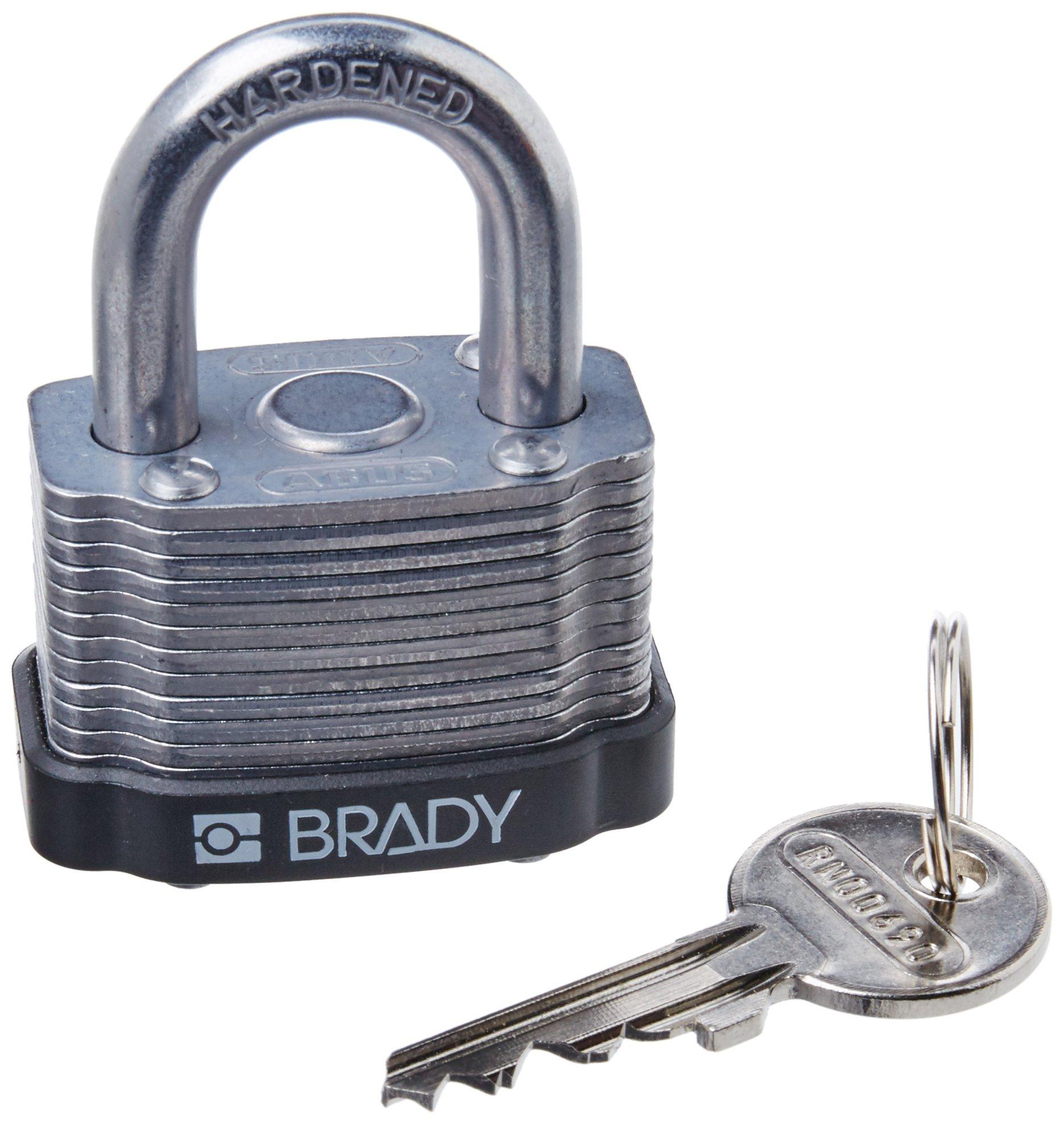 Brady 143136 Black Key Retaining Steel Padlock, 1-1/5'' Height, 1-5/16'' Width, Black