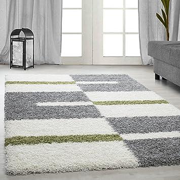 Teppiche Hochflor Shaggy Gestreift Und Karirt Motive Für Wohnzimmer,  Esszimmer. Gästezimmer Mit 3 Cm