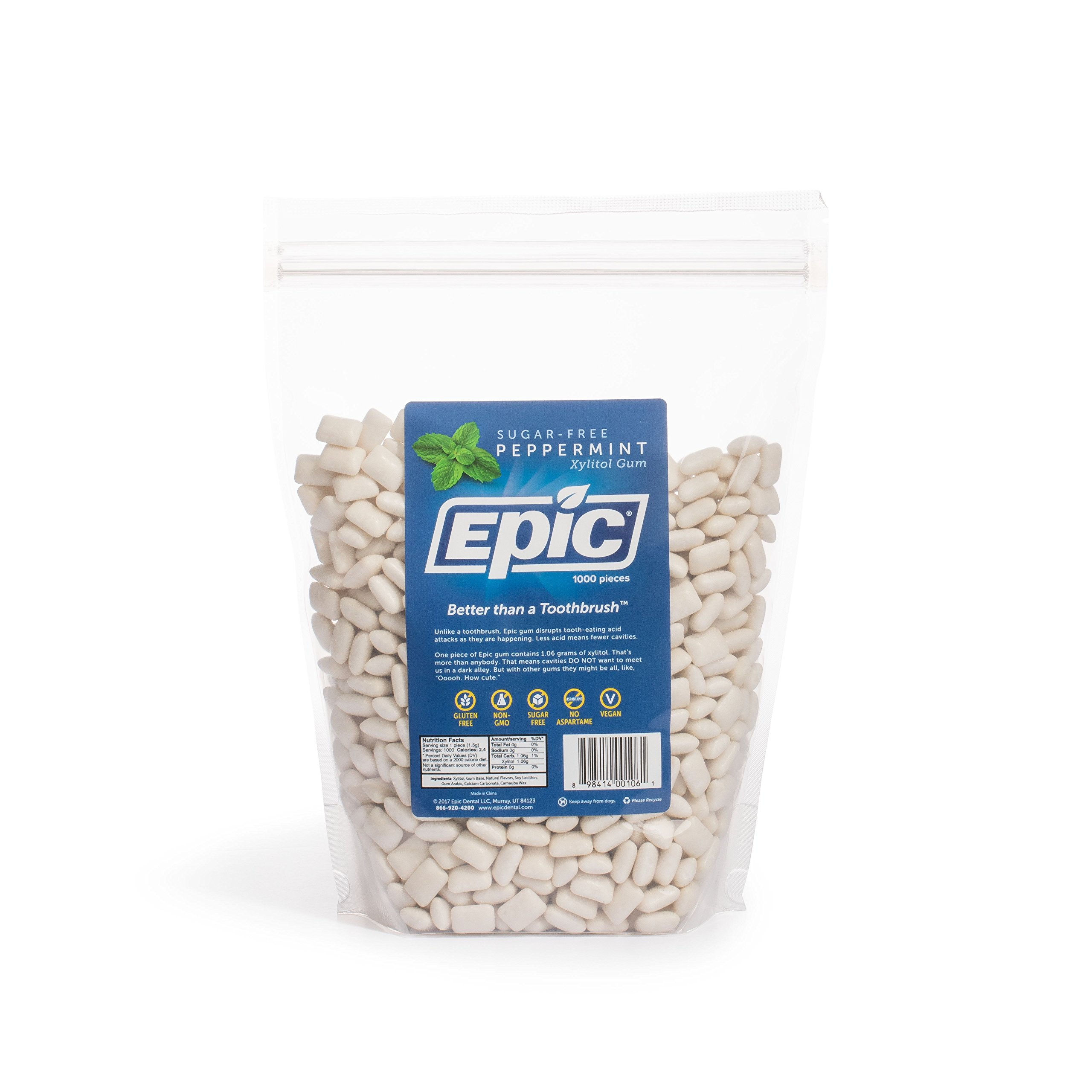 Epic Dental 100% Xylitol Sweetened Gum (Peppermint, 1000-Count Bulk Bag) by Epic
