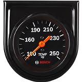 Actron SP0F000053 Bosch Style Line 2' Mechanical Water/Oil Temperature Gauge (Black Dial Face, Black Bezel)