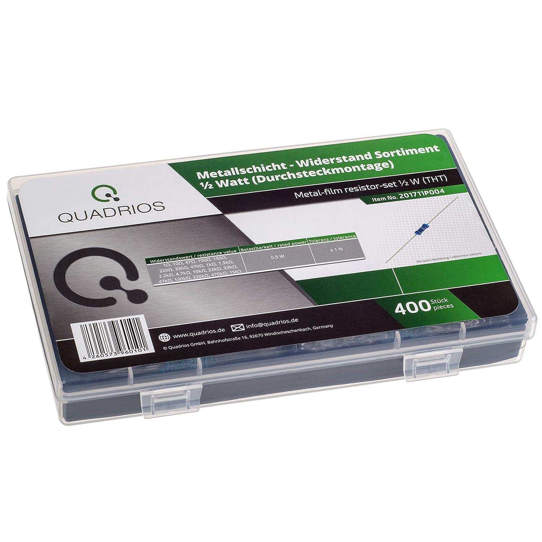Surtido de resistencias de QUADRIOS GmbH con alambre de 1 ohmio 1 MOHM tolerancia del 1/% incluye Datos 20 valores est/ándar 400 piezas resistencias de capa de metal de 0,5 W